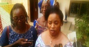 Flore Ayélé Antonio, Présidente de la FFPM, section Togo au micro