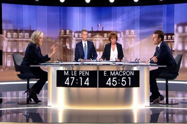Image du débat public de Marine Le Pen et Emmanuel Macron