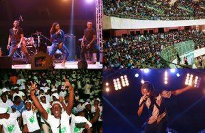 Les artistes Séssimé (en haut à gauche) et Black T (en bas à droite) dans leurs prestations