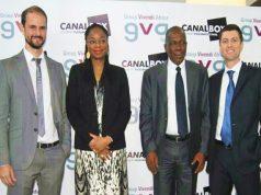 Cina Lawson entourée des responsables de GVA et Canal+ Togo