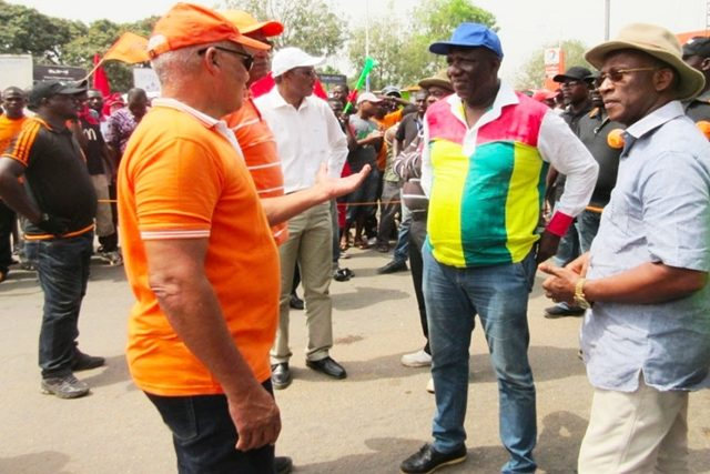Des leaders de la coalition lors d'une marche à Lomé (archives)