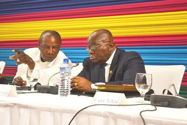 Nana Akufo-Addo et Alpha Condé le 27 juin 2018 à Lomé