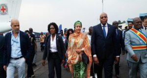 Arrivée à Goma de Mme Amina J. Mohammed (en pagne) et sa délégation