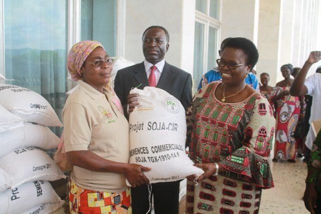Remise de semences à une productrice dans la Kara