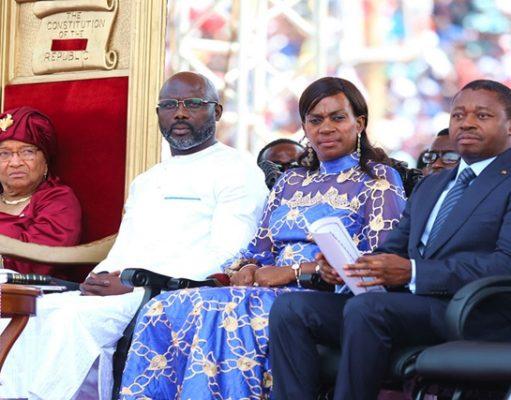 De gauche à droite : Ellen Johnson Sirleaf, George Weah avec son épouse et Faure Gnassingbé