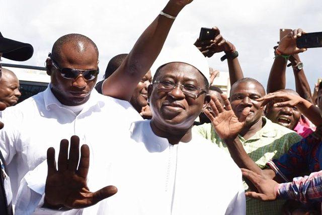 Soumaïla Cissé à son QG à Bamako (©RFI)